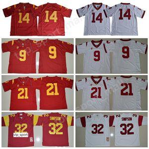 USC Trojans 9 Juju Smith-Schuster Jersey Erkek Koleji Futbol Sam Darnold Adoree Jackson 32 OJ Simpson Dikişli Kırmızı Beyaz Boyutu