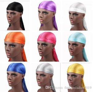 Hot Brand New 2019 Fashion Men's women Satin Durags Bandana Turban Wigs Men Silky Durag Headwear Headband Pirate Hat Hair Accessories