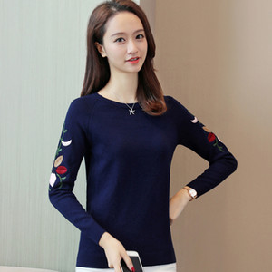 Embroidered Casual Loose Sweater Female Korean Long Sleeve Knitted Slim Pullover Ladies Knitwear Jumpe Pull