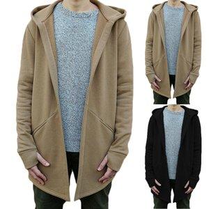 Casual abierto puntada sudaderas con capucha caliente sólido grueso hombres de la moda Otoño Invierno Cardigan Sweatershirts ocasional delgada Outwear