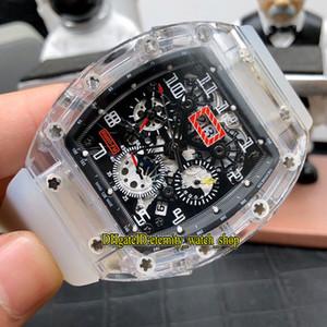 Nouveau Top Version RM 011-FM transparent de cas Skeleton Dial Mouvement automatique Japon Miyota RM011 Mens Watch bracelet en caoutchouc sport de luxe Montres