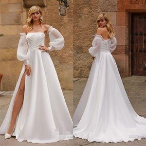Elegant Long Sleeves Beach Wedding Dresses Sexy Bateau High-split Sweep Train Feather Ruched Chiffon Bridal Gown Custom Made Bridal Dress