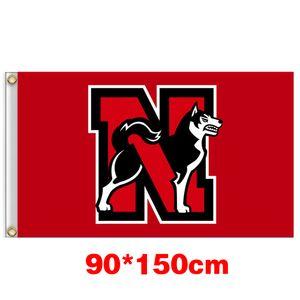 Northeastern Huskies University College Bandiera 150CM * 90cm 3X5FT poliestere personalizzato Qualsiasi Banner Sport Flag Flying homegarden all'aperto