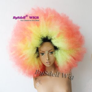 красочные красоты черный алмаз девушка русалка прическа парики синтетические афро кудрявый вьющиеся кружева перед парики для чернокожих женщин