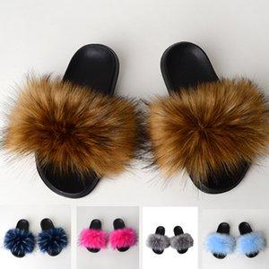 Faux женщин Лисий Мех тапочки сандалии лето плюс размер пушистая пушистый нечеткий 2020 мода на открытом воздухе скольжения на открытой спине