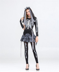 Designer Funny Dress Party Women Theme Costume Halloween Day Womens Clothes The Skeleton Bride Cosplay Dress