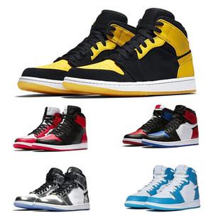Caliente calza los zapatos para hombre de OG 1S Chicago 6 anillos de las zapatillas de deporte del dedo del pie Bred Formadores mujeres de mediana Zapatos New Love UNC Tablero deporte 36-47