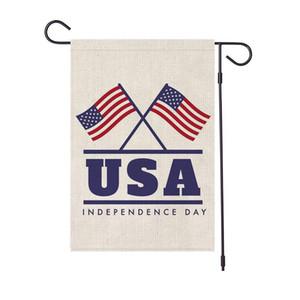 45 * 30CM EUA do dia da independência jardim presidente bandeira América feriado impresso 04 de julho de linho bandeira do partido ao ar livre decoração adereços FFA4019A feliz