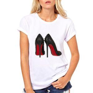 Artı boyutu 3XL suluboya yüksek topuklu ayakkabılar moda t shirt komik t shirt kadın 90s hip hop serseri gömlek yenilikçi streetwear femme yazdırmak