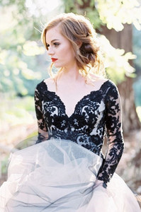 Gothic Black Lace Country Wedding Dresses A line V neck Long Sleeves Tulle Illusion Designer Court Train Wedding Bridal Gowns Cheap New