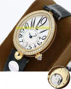 GB Reina de Nápoles 8918BR diamante Reloj de pulsera 18k del diamante del oro del reloj Mujer Cal.537 / 3 de la madre-de-perla automática zafiro Esfera impermeable