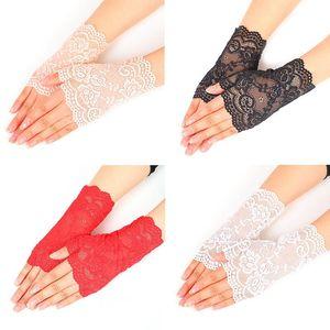 Creative Lace Semi dedo luvas ao ar livre mulher verão dirigindo anti uv fina cor sólida cor luva de moda dc360