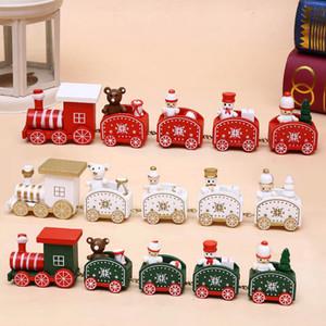 Nova Natal do brinquedo dos desenhos animados Train madeira pintada Decoração de Natal Para Casa Com Urso de Santa Xmas Kid Brinquedos de Natal presente do ornamento DBC VT1072
