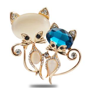 Rhinestone Kristal Broş Kedi Göz Taş Hayvan Takı ile Toptan 5 adet Gül Altın Kaplama Güzel Fox Şekli