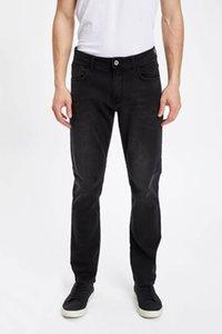 DeFacto классические мужские черные джинсы свободные середины талии джинсовые длинные брюки повседневные промытые джинсы брюки-K4122AZ19SP