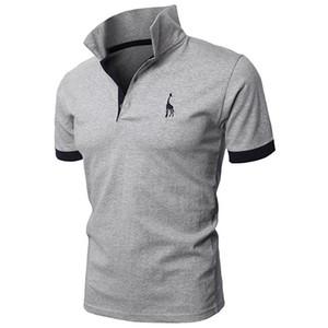 Smalll deer 2020 с коротким рукавом Мужские рубашки поло кнопка Slim Fit лето повседневная тонкий поло Мужчины бренд черный белый красный фиолетовый размер M-5XL