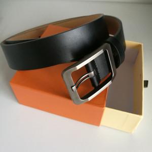 ceintures haute couture de qualité pour hommes occasionnels ceinture mâle or argent ceinture en cuir de vache véritable boucle lettre noire femmes ceintures femmes avec la boîte