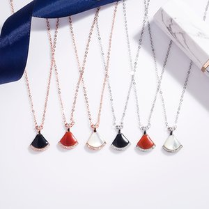 s925 sterling silver skirt women's necklace classic Red chalcedony full diamond fan-shaped Valentine's Day accessories