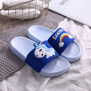 Regenbogen-Cartoon Unicorn Printed Kinder Indoor Hausschuhe Kleinkind-Sommer Fashion Home Flip Flops Kinder Schlafzimmer Schuhe Beach Wear Slipper D62306