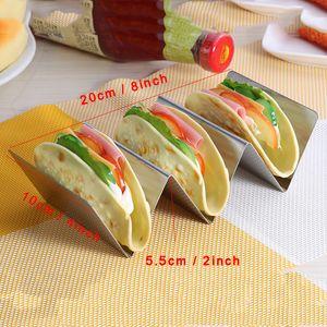 Edelstahl Taco Halter stehen Mexican Taco Essen Rack-W Raum Hartschalen-Welle-Küche-Werkzeug Restaurant Food Show Halterungen Ständer DBC BH3216