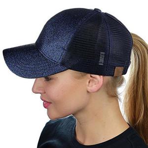 Fashion Women Mens Ponytail Baseball Caps Sequins Shiny Messy Bun School Hat