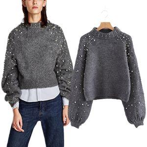 Naiveroo Lady's Sweater Pearl Beaded Pullover Mujer Invierno Otoño Punto de manga larga Casual Sweater y Jerseys Tops
