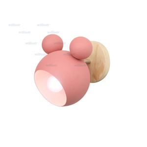 Modern Iron Mouse Wall Lamp Creative Wood Macaron Color Sconce Hotel Aisle Nursery Kids Bedroom Nordic Pink Green Yellow Blue Lighting