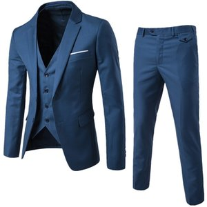 mens designer casual groom's best man wedding three-piece suit fashion