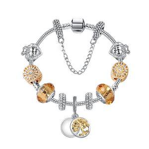 Gold Charm Bracelet Perles Argent 925 Coeur Cristal Bracelets Brins arbre de vie Pendentif perles Bangle femmes filles Mode Trendy Bijoux Cadeau