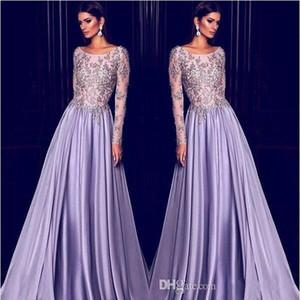 Elie Saab Lavender Dubai Arabic Kaftan Mangas largas Vestidos de noche Bordados en oro 2019 Elegante cuello Sheer Celebrity Dress Prom Party Wear