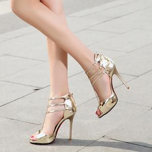 Hot Sale-Mulheres tamanho de Ouro 33 Shose 11 CM Super Salto Alto shoses Partido Shallow Sexy prata Verão Bombas Sandals