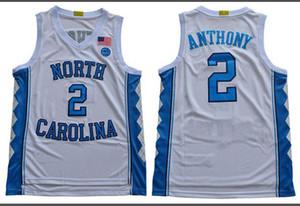 Урожай баскетбол пятно Мужчины UNC Tarheels # 2 Коул Энтони Полный джерси баскетбол вышивка Размер S-3XL или настраиваемое любое имя или номер джерси