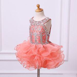 Rhinestone bello Beadedcoral Cupcake ragazze vestiti da spettacolo con Tiered Organza Backless delle ragazze di fiore Abiti Bambini festa di compleanno abiti