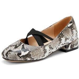 SARAIRIS nuovo commercio all'ingrosso tacco grosso Plus Size 48 Scarpe Donna donne dolci Snake Vene Mary Janes pompe della molla