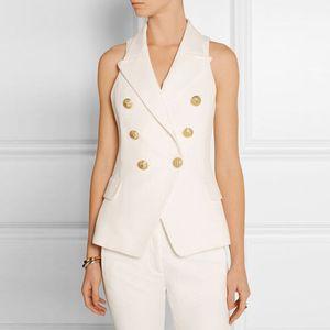 새로운 패션 고품질 골드 더블 브레스트 버튼 조끼 바깥 쪽 착용 사무직 레이디 커리어 스타일 화이트 블랙 조끼 민소매 탑스