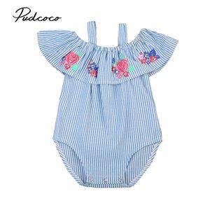 Прекрасные малыши Infant новорожденного Baby Girl Rose Цветочной Полосатые с плечом Romper Комбинезон Outfit Костюм