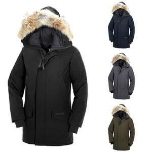 Dhl 2019-2020 كندا الرجال langford سترة أسفل سترة 90٪ الأبيض الكندي النسيج معطف طويل مقنع دافئ doudoune مجانية