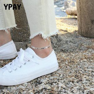 Genuine 925 Sterling Silver YPAY Wafer Anklets for Women Leg Chain Anklet Bracelet Barefoot Sandals Beach Foot Jewelry YMA041