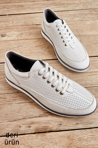 Bambi Genuine Leather White Male Sneaker L17590512