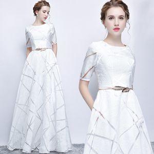 Uizvtik Verão Vestido Para As Mulheres 2019 Elegante Formal Vestido de Baile Longo Vestido de Festa Feminino Casual Plus Size Magro Maxi Vestidos Brancos Y19052803