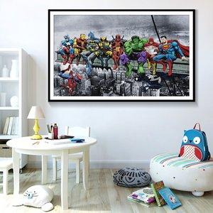 SUPERHEROS 3 الأعجوبة دي سي كوميكس الساخن الفيلم النفط اللوحة الحديثة ديكور المنزل قماش اللوحة جدار صور لغرفة الجلوس 191002
