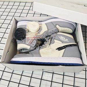 With box Dior x Air Jordan 1 High OG  Com caixa de 2020 colaboração aniversário Oficialmente revelado Grey Branca selo francês estilo de moda Kim Jones sapatilha s