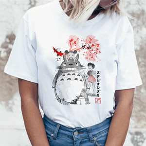 T Shirt Mulheres Top Camiseta T Shirt poliéster camiseta Estúdio Ghibli Kawaii 90S gráfico Harajuku Miyazaki Hayao Female Fashion
