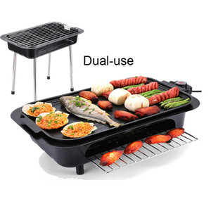 Dual-use Fotan and Electric Bbq Grill Smokeless Non-stick Electric Baking Pan Cooking Skillet Big Plate Korean Bbq Griddle Tools