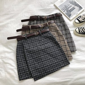 Designer  Lady Skirt Female Autumn Sweet High Waist A-line Mini Skirt Vintage Casual Women Plaid Chic Sashes