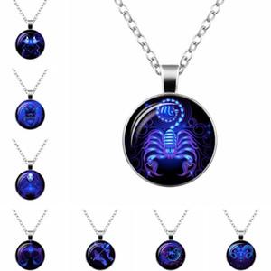 Мода Галактики кулон ожерелья для женщин Мужчины 12 созвездий Дизайн Знаки зодиака Гороскоп Астрология стекла кабошон круглый круг ювелирных изделий