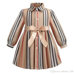 filles robe 2019 INS nouveau printemps fille enfants mode rayé impression à manches longues robe enfants élégante coton bowknot robe de haute qualité