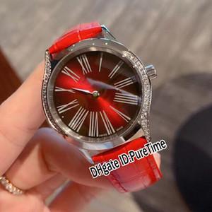 Nouveau 428.18.36.60.11.001 Bezel Boîtier en acier diamant cadran rouge suisse Quartz Montre Femme Big Roma Markes rouge avec bracelet en cuir Montres Puretime E162