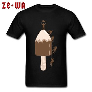 Hot Sale CLIMBERS T Shirt Summer Man T-shirts Funny Tshirt Ice Cream Climbed Novelty Tops Mens Tees Cotton Clothes Black