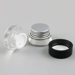 12 х 3g Путешествия Мини Glass Sample Крема Макияжа Jar Контейнеры с Silver Black Люки 1/10 Glass крем Пот